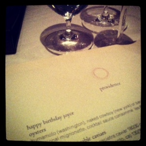 Personalized Menu at Providence Restaurant