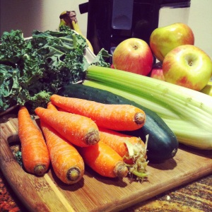 "My new obsession is juicing! Great post-workout treat or even a dinner replacement if I cheated and had an enormous lunch. Follow ""Juicing Vegetables"" on Facebook. They have the best belly busting recipes."