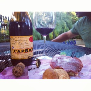 Sandwiches and a $9 bottle of Lambrusco for dinner with our dogs at our feet. Can't beat that!